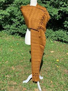 Fringed Estambre Rebozo Wrap Shawl Woven 6.2x2.2 Mexican Golden Brown 2045