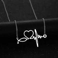 Silver Nurse ECG Stethoscope 316L Stainless Steel Titanium Pendant Necklace