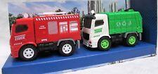 2 x LKW Truck mit Licht, Sound und Friktionsantrieb: Umwelt Müllauto + Feuerwehr