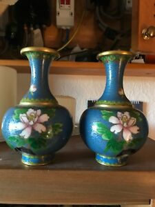 Matching Pair Stunning Famile Vases Decorated With Water Lilies 7""