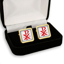 Men'S Cufflinks Gift Engraving Chi-Rho Cross Christogram Alpha Omega