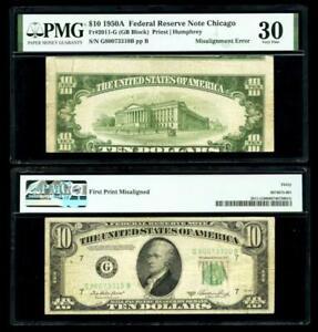First Print Misalignment Error Fr. 2011-G $10 1950A F R Note. PMG VF30