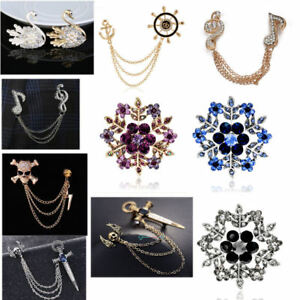 Rhinestone Crystal Brooch Pin Silver Pearl Flower Swan Diamante Bling Wedding UK