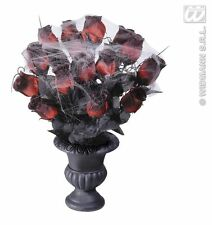 Halloween Charcoal Vase with Red Roses and Cobweb Decoration Table Centrepiece