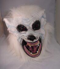 Blanc Loup-Garou Masque Latex Déguisement Halloween Loup Effrayant Chien Neige