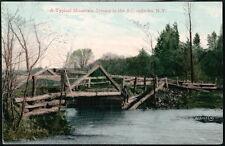 ADIRONDACKS NY Wooden Foot Bridge Across Mountain Stream Antique Postcard Vtg PC