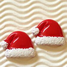 "10 x 1"" Santa Claus Resin Flatback Hat Beads for Christmas/X'mas Card/Bow SB479H"