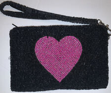 Vintage KC Malhan Black Beaded Pink Heart Wristlet Purse Removable Strap