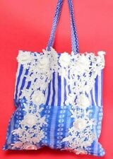 ANTICA SARTORIA  BLUE AND WHITE LACE BEACH BAG/  PURSE NWT