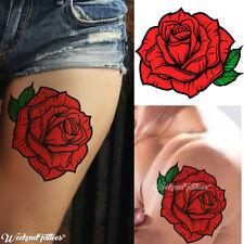 Red Roses Flower Temporary Tattoos Stickers Body Art 3d Rose Tatoo Waterproof UK