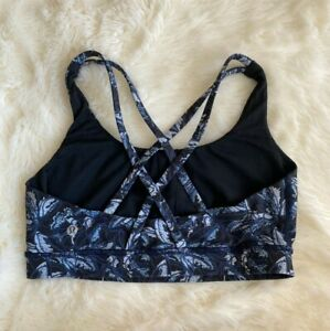 Lululemon Athletic Energy Sports Bra Black Blue Floral Print Cross Back Sz 8