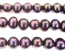 "15"" Black 7mm Fresh Water Potato Pearl Beads"