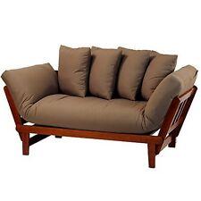 Casual Home Lounger Sofa Bed - Oak Frame/Khaki Fabric NEW