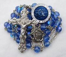 † VERY BEAUTIFUL ENAMELED ST CHRISTOPHER MEDAL & VINTAGE BLUE GLASS ROSARY †