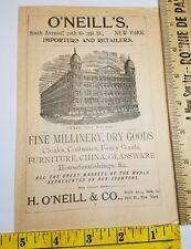 1896 Ad Advertising O'NEILL'S BIG STORE MILLINERY DRY GOODS CHINA New York NY