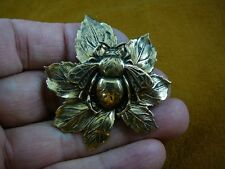(b-bee-17) Bee bumble bees insect bug maple leaf brass pin pendant brooch honey