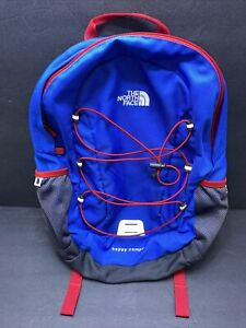The North Face Happy Camper Backpack Bag Blue red  Zip Inside Pocket Used EUC