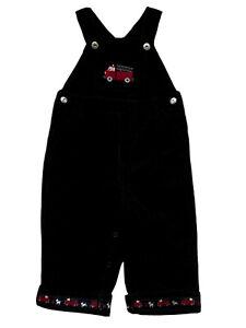 NWT Gymboree 12-18M Boys Black Embroidered Firetruck Corduroy Overalls