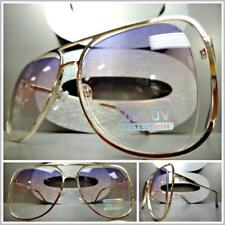 CLASSIC VINTAGE RETRO Style SUN GLASSES Rose Gold Frame Purple Pink & Clear Lens
