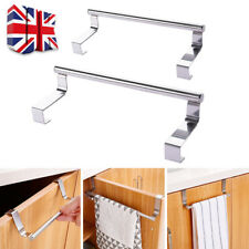 Over Door Tea Towel Holder Rack Bathroom Rail Cupboard Hanger Kitchen Hook UK