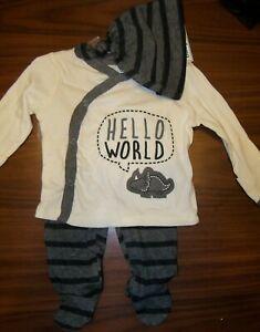 Gerber Hello World Dinosaur Gray 3 Piece Set Infant Size Newborn NWT