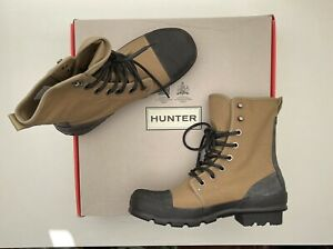 BNIB Hunter Men's Original Canvas Commando Hi Top Rubber Sole Ankle Boots 9