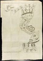 1777 - Gravure planisphère de Bianchini - Astrologie égyptienne & grecque