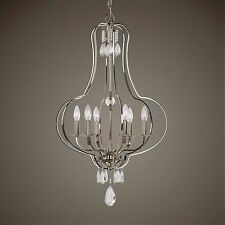 "POLISHED NICKEL METAL HANGING 6 LT 34"" PENDANT CHANDELIER  LIGHT GLASS DROPS"