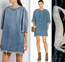 New sz 36 / US 4 CHLOE mainline denim dress frayed hems with sleeves
