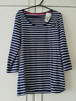 TU NEW WOMENS NAVY BLUE WHITE STRIPED BLOUSE TOP SIZE 14 SOFT TOUCH 3/4 SLEEVE