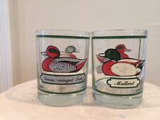 Set of 2 Georges Briard signed Green-Winged Teal Mallard Duck Drinking Glasses