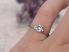 0.54 Ct Round Diamond Engagement Ring Real 18K White Gold Wedding Rings Size H