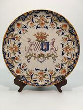 "Antique French Faience Rouen Style Armorial  14"" Charger Plate"