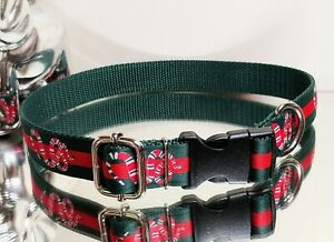 La Gucci Green Red Snake Design Fashion Dog COLLAR Necks 17-20 in. Ret.$64 🐍❤