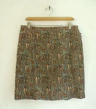 NWT Jones New York Brown & Blue Paisley Print Corduroy Straight Skirt Size 10