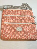 KIPLING Orange Floral Nylon Small Zippered Crossbody Bag Purse NWOT *H*