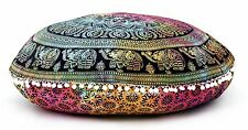Indian Elephant Mandala Pillow Meditation Round Floor Cushion Cover Ottoman Pouf
