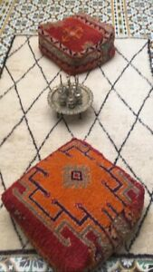 Vintage Moroccan Boujad floor cashion inspired from old Boujad rug lovely poof