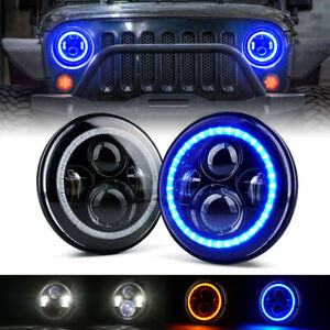 Xprite 90W LED Round Headlights Conversion Blue Halo Ring for 97+ Jeep Wrangler