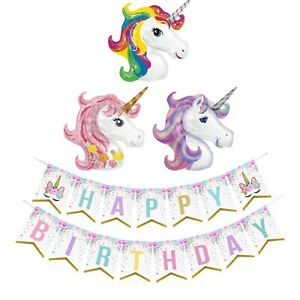 Unicorn Happy Birthday Bunting Banner & Giant Balloon Kids Party Decoration Set