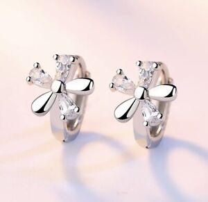 925 Sterling Silver Girl's Kid's Flower CZ 12mm Huggie Hoop Earrings