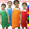 Children Kids Apron Pocket Adjustable Chefs Kitchen Cooking Craft Art Plain Bib