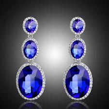Bridal Diamante Imitation Gemstone Royal Blue Drop Dangle Earrings Wedding Party