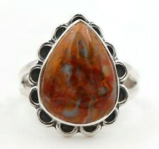 Natural Ocean Surf Jasper 925 Sterling Silver Ring Jewelry Sz 7.5 CT27-2
