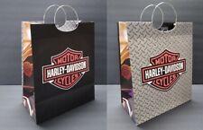 "Harley Davidson Gift Bag 13"" x 10"" Gray Black Red Metal Handles Motorcycles Sack"