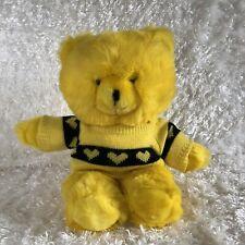 "Vintage Yellow Teddy Bear Heart Knit Sweater Stuffed Plush 15"" RARE Mervyns"
