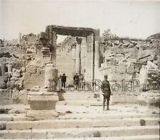 Jordanie Jerash Gerasa Ruines Archéologie Plaque de verre stereo Vintage ca 1930