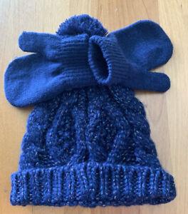 Carters 2-Piece Glitter Cable Knit Hat & Mittens Set Navy Blue Size 12-24M  (D)