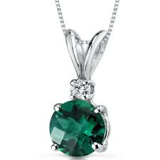 14 kt White Gold Round Cut 1.00 ct Emerald Pendant