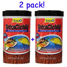 2 Pack of 6-Ounce Tetra Cichlid Floating Pellets Fish Food Medium Large Cichlids